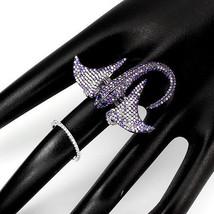 18 K White Vermeil Pave 5 A Vvs Cubic Zirconia Motion Stingray Knuckle Ring Sz 8 - $157.41