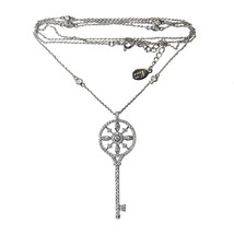"PAVE HEART KEY CZ + 30""CZ RHODIUM NECKLACE-GIVE HER THE KEY TO UR HEART - $39.59"