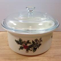 Portmeirion Holly & Ivy Covered Casserole Dish Pyrex Lid 1.5 Quart Chris... - $56.09