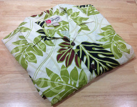 Hilo Hattie Mens Hawaiian Shirt Leaf Brown Cream Olive Green Rayon Large - $18.69