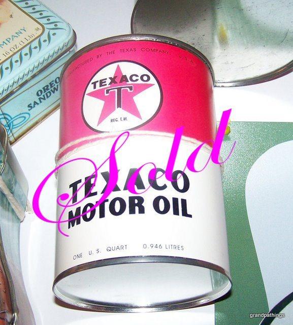 Rare cardboard texaco motor oil can nice old vintage star 005