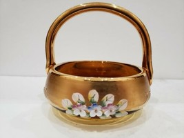 """Vintage Murano Sugar / Candy Dish 24K Gold / Hand Painted Enameled Flower / 6""""R - $46.24"""