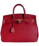 Carbotti Designer Style Cherry Red Leather Handbag - $298.74