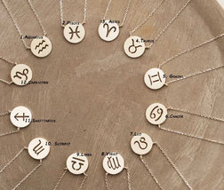925 sterling silver Zodiac Sign pendant Necklace / Constellation Signs n... - $25.00