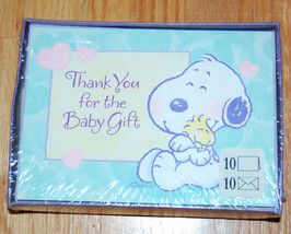 NWT My Little Snoopy Hallmark Woodstock Baby Shower Boxed Thank You Cards Notes - $20.00
