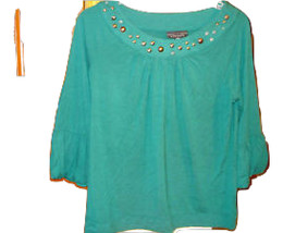 NWT APOSTROPHE TEAL PULLOVER TRUMPET 3/4 SL FANCY NECK STUDDED TOP SZ S - $14.84