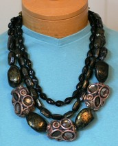 """Vintage Women's 3 Piece Necklace & Earring Set """"N"""" Bold Statement Jewelry Used - $17.75"""