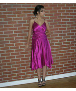 Vintage Papell Boutique Evening Silk Charmeuse Ruched Party Swing Dress ... - $59.99