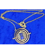 Time Turner Necklace Gold/Blue Hermione Granger's Chain Length Choice - $3.99+