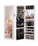 LUXFURNI Mirror Jewelry Cabinet 79 LED Lights Wall-Mount/Door-Hanging Ar... - $261.99