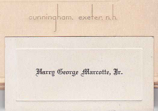 Harry George Marcotte Jr. Cabinet Photo - Exeter, New Hampshire