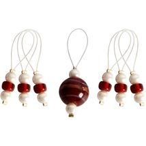 7 Amaryllis Colored Bead Stitch Markers by Knit... - $5.85