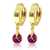 2 Carat 14K Solid Gold Hoop Earrings Natural Pink Topaz - $156.26