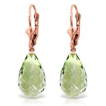 14 CTW 14K Solid Rose Gold Green Amethyst Swing Earrings - $173.30