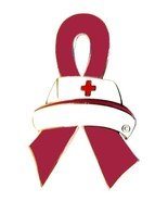 Hospice Care Lapel Pin Nurse Cap Burgundy Aware... - $10.97