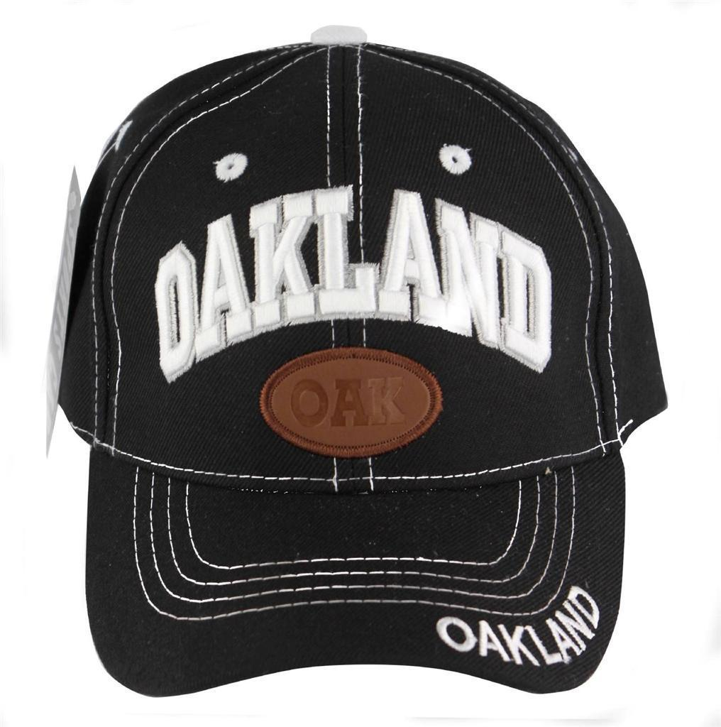 NEW MENS BASEBALL HAT CAP ADJUSTABLE BACK OAKLAND BLACK ONE SIZE FITS ALL