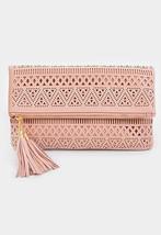 Pink Tribal Pattern Tassel Charm Fold Over Clutch Purse 107462 - $557,62 MXN