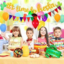 38 Pieces Mexican Fiesta Party Decorations, Includes Triangle Bunting Flag, Fies image 7