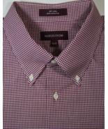 NORDSTROM 18.5 x 35 Rich Red Burgundy Gingham Checks Plaids Dress Shirt - $99.99