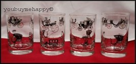 Set of 4  Vintage Libbey 1950s  Swanky Swigs Juice Glasses  Antique Cars   - $44.55