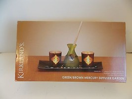 Kirkland's Green / Brown Mercury  Diffuser Tray & Candle Holders New! - $9.80