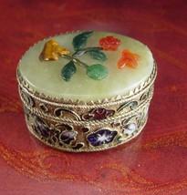 Antique Chinese Box Miniature Cloisonne Jade Tigereye Carnelian Flowers ... - $125.00