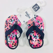 Osh Kosh B Gosh Toddler Sz 3-4 Pink MultiColor Flip Flop Sandals NWT - $8.59