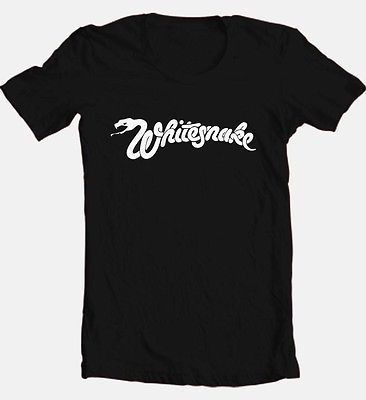 Whitesnake Logo T-shirt 80's heavy metal classic rock black cotton graphic tee