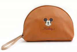 Mickey Mouse Half Moon Leather Clutch Hand Bag Pouch With Gold Zipper Cl... - $36.41