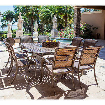 10 Piece Square Dining Set Modern 8 Chairs & Table Outdoor Firepit/Beverage Bowl