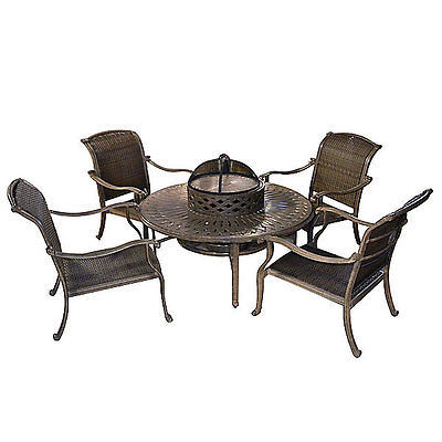 6 Piece All Inclusive Modern 4 Chairs & Table Outdoor Firepit/Beverage Bowl