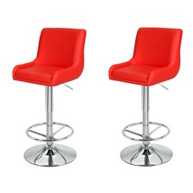 Adeco Red Height Adjustable Classic Bar Stools (Set of 2) - $149.99