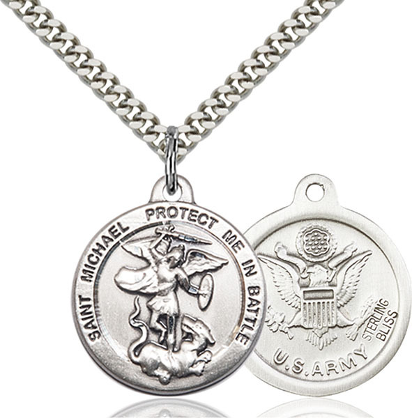 Sterling Silver St. Michael Army Medal Necklace For Men 0344SS2/24S