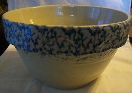 Robinson Ransbottom Spongewear Large Pottery Mixing Bowl Tan with Blue #... - $197.99