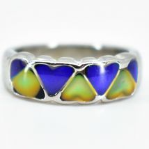 Heart Shape Multi-Color Changing Contrasting Silver Painted Mood Ring image 5