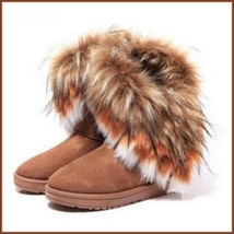 Tufted Faux Fur Soft Suede Brown Leather Plush Lined Fashion Ankle Snow Boots