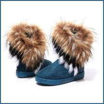 Tufted Faux Fur Soft Suede Blue Leather Plush Lined Fashion Ankle Snow Boots