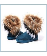 Tufted Faux Fur Soft Suede Blue Leather Plush Lined Fashion Ankle Snow B... - $56.95