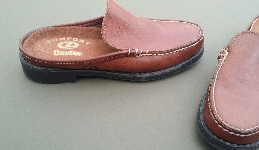 Dexter Clogs Slip-on Brown Leather Open Back Loafers Womens Shoes Slides 6.5 M