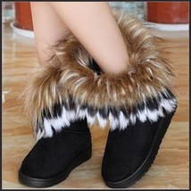 Tufted Faux Fur Soft Suede Black Leather Plush Lined Fashion Ankle Snow Boots