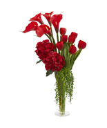 Calla, Hydrangea & Tulips Artificial Arrangement in Flared Vase - $129.52