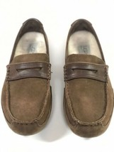 Ugg Australia Mens Loafers Sheepskin Brown Suede Mens 9 N1 - $28.71