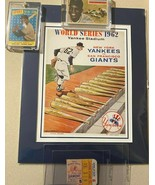 BEAUTIFUL MATTED WORLD SERIES COVER PLUS MAYS CARDS AND ORIGINAL TICKET - $173.25