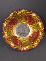 Vintage Goofus Glass Ruffled Painted Golden Rose Bowl - $15.16