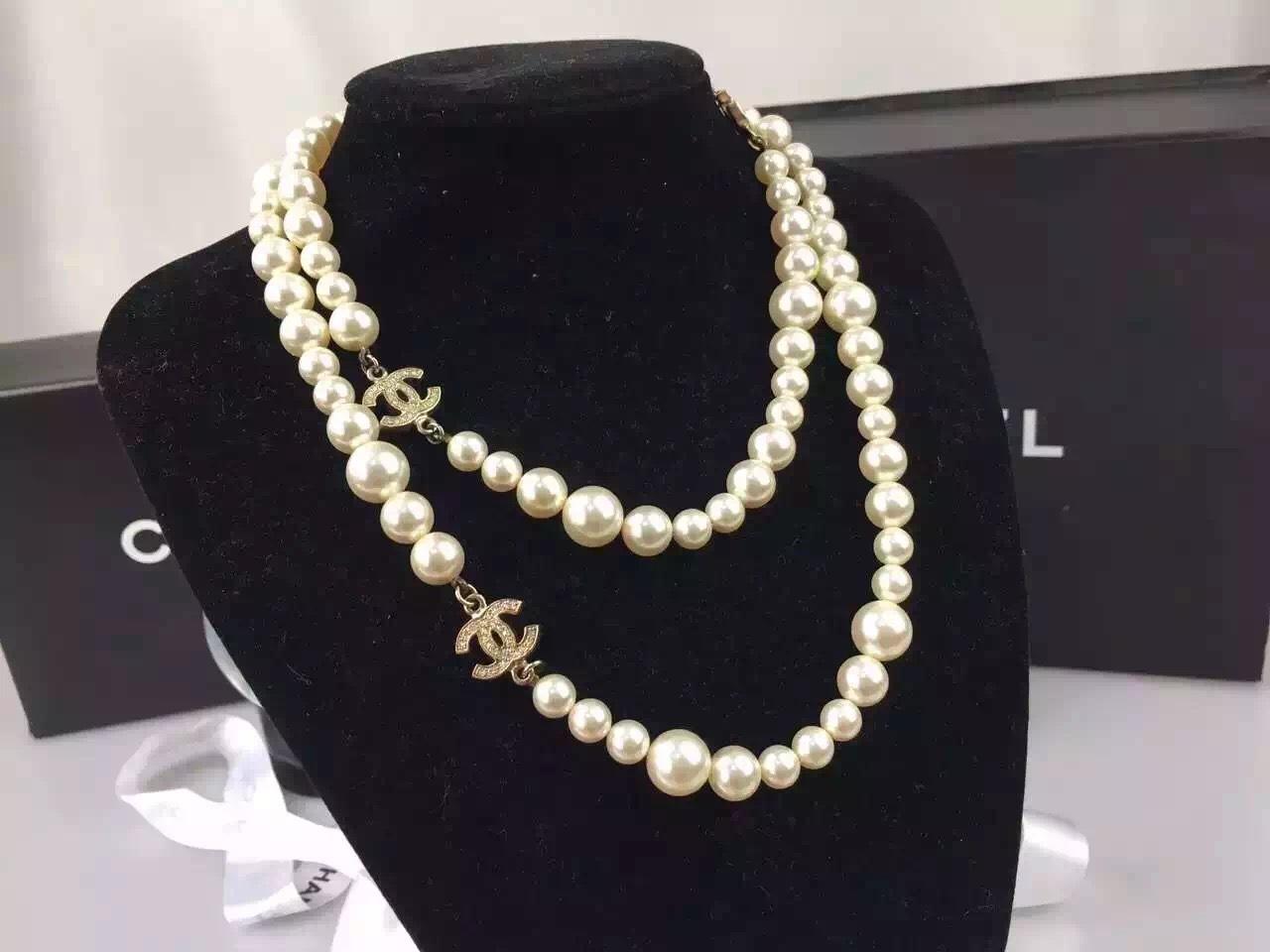 AUTHENTIC Chanel Swarovski 3 CC White Pearl Long Classic ...