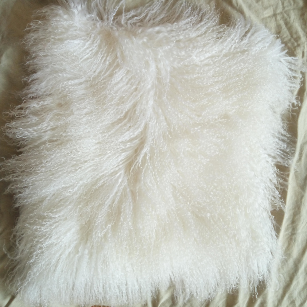 Fur Throw Pillow Covers : Mongolian Lamb Fur Pillow Cover Decorative Cushion Covers For Sofa Throw Pillows - Pillows
