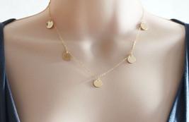 Gold Disc Necklace 14 Karat Gold filled Necklace  - $48.00