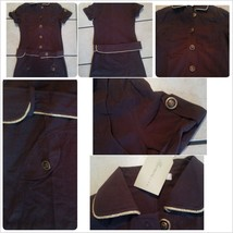 Womens Brown Military style Button Dress Lady's Brown button up casual dress L - $15.67