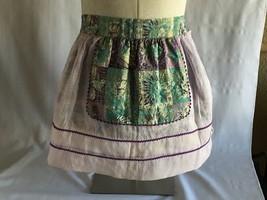 Vintage Style Handmade Womens Purple Chiffon Reversible Half Apron One Size - $14.84