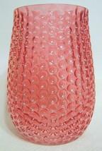 Red Art Glass Vase Concave Bubbles - $40.09
